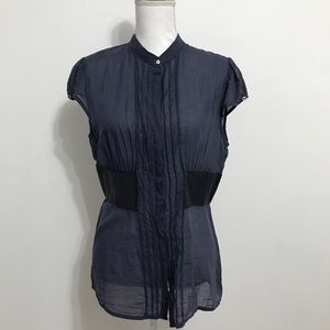 NWT Dondup Navy Blouse with Leather Accents